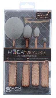 Royal & Langnickel Moda Metallics Rose Gold Face Perfecting Kit Brush Set 4pc