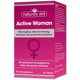 Natures Aid Active Woman With Arginine, Siberian Ginseng, Damiana, Horny Goat Weed & Maca