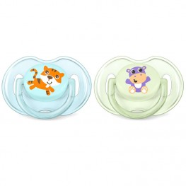 Philips Avent Classic Soothers Tiger & Hippo 0-6M