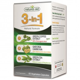 Natures Aid 3-IN-1 Natural Formula With Green Coffee (Svetol), Garcinia Cambogia And Green Tea