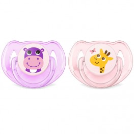 Philips Avent Classic Soothers Hippo & Giraffe 6-18m