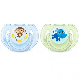 Philips Avent Classic Soothers Monkey & Rhino 6-18m