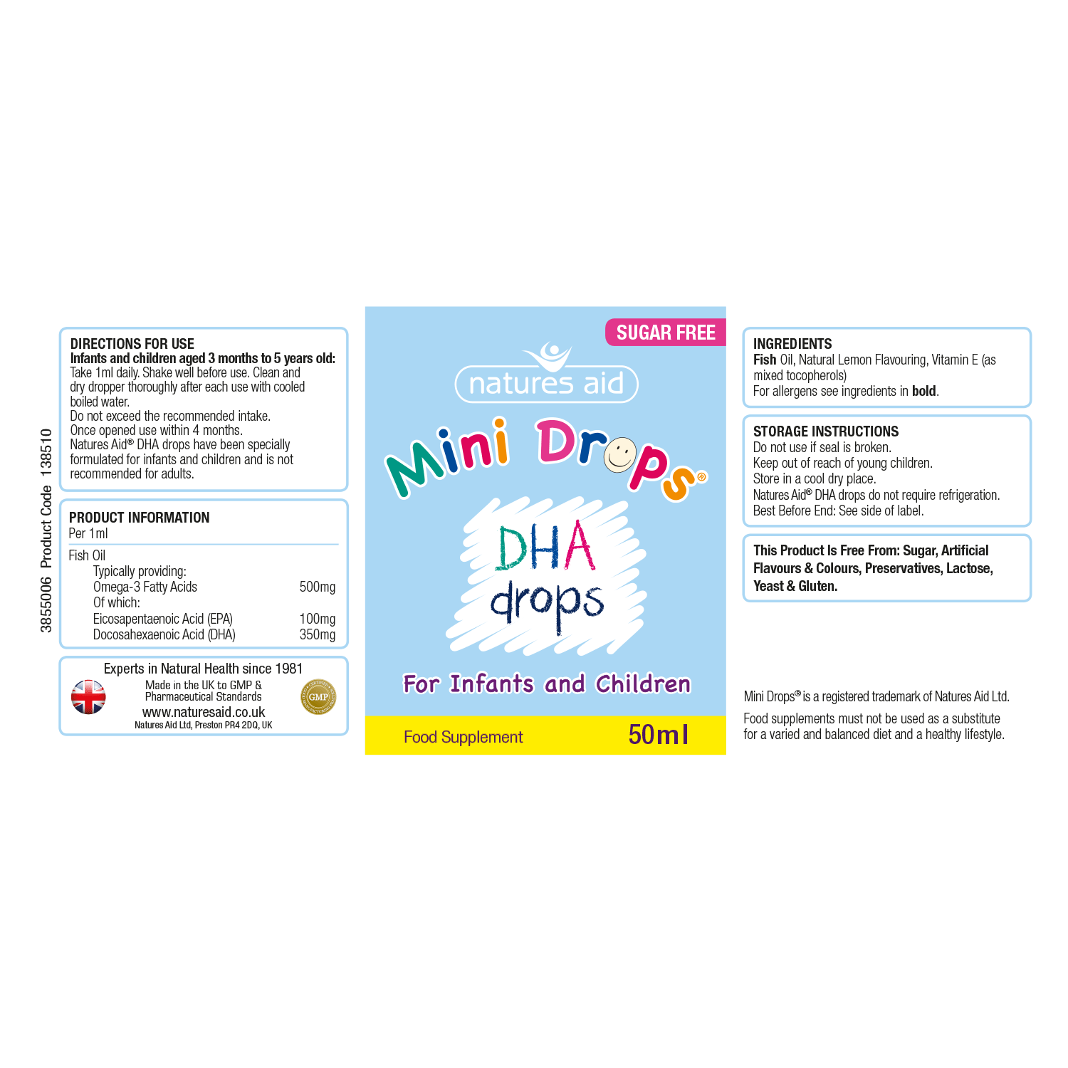 Natures Aid (3 Months-5 Years) Dha Mini Drops For Infants & Children