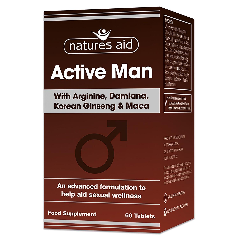 Natures Aid Active Man With Arginine, Korean Ginseng And Maca